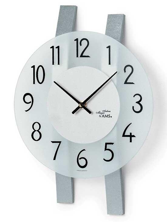 【AMS】【ドイツ製】【アームス】サークルデザイン クォーツ式掛け時計 ガラス・ブナ材コンビ ams9202[送料無料]【成人式 お祝い】【父の日】【クリスマス】