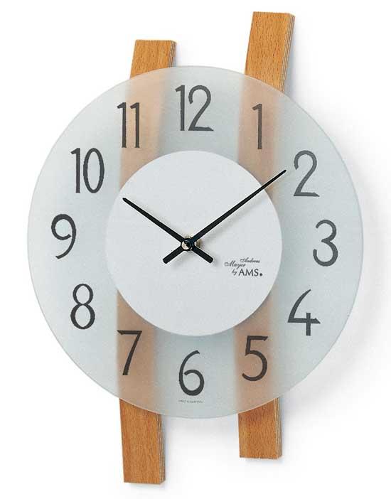 【AMS】【ドイツ製】【アームス】9203 斬新デザイン クォーツ式掛け時計 ガラス&ビーチウッドコンビ アナログ[送料無料]【成人式 お祝い】【父の日】【クリスマス】