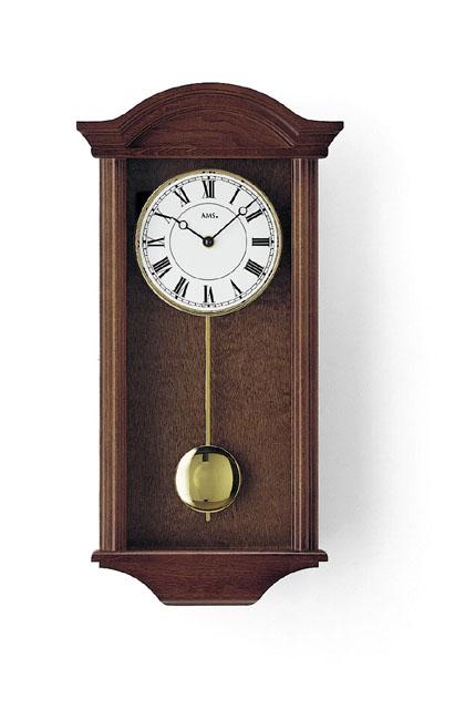 【AMS】【ドイツ製】【アームス】クラシカルな柱時計/くるみ材/クォーツ式振り子掛け時計/990-1/茶ブラウン/アナログ[送料無料]【成人式 お祝い】【父の日】【クリスマス】