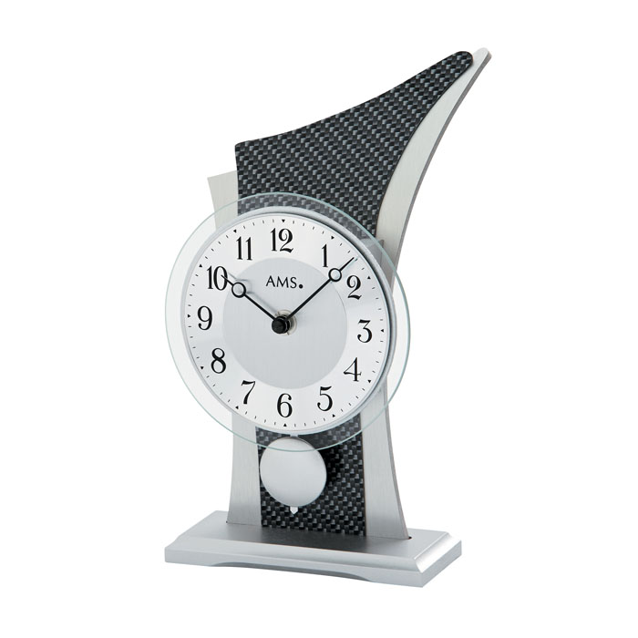 AMS アームス 置き時計 ams-1140 アナログ ドイツ製 置時計 振り子 アルミ カーボン [アムス 海外メーカー 輸入時計 欧州 デザイン]