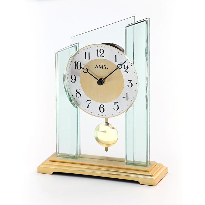 AMS アームス 置き時計 ams-1167 アナログ ドイツ製 置時計 振り子 ガラス [アムス 海外メーカー 輸入時計 欧州 デザイン]
