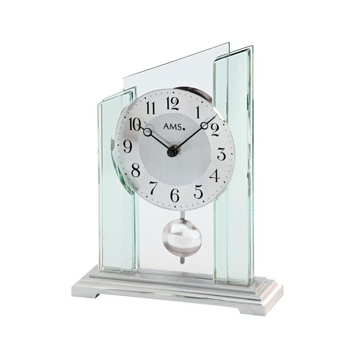 AMS アームス 置き時計 ams-1168 アナログ ドイツ製 置時計 振り子 ガラス [アムス 海外メーカー 輸入時計 欧州 デザイン]