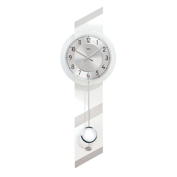 AMS アームス 壁掛け時計 ams-7414 アナログ ドイツ製 柱時計 掛時計 振り子 ガラス アルミ [アムス 海外メーカー 輸入時計 欧州 デザイン クロック 新築祝い 新築お祝い ]