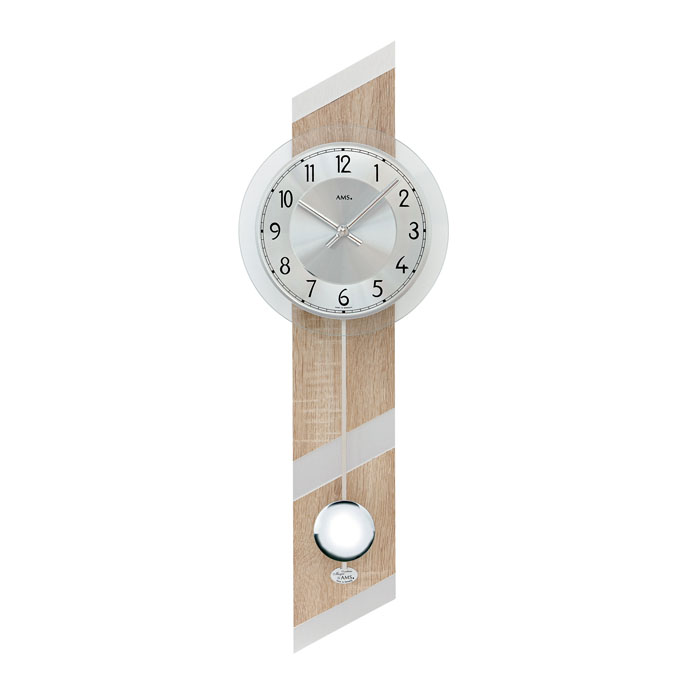AMS アームス 壁掛け時計 ams-7415 アナログ ドイツ製 柱時計 掛時計 振り子 ガラス ウッド 木 [アムス 海外メーカー 輸入時計 欧州 デザイン クロック 新築祝い 新築お祝い ]