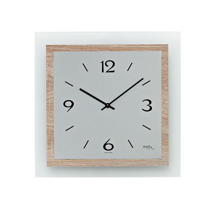 AMS アームス 壁掛け時計 ams-9225 アナログ ドイツ製 掛時計 ガラス アルミ スクエア [アムス 海外メーカー 輸入時計 欧州 デザイン]