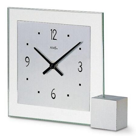 【AMS】【ドイツ製】【アームス】サークルデザイン クォーツ式置き時計 ガラス・アルミコンビ ams102【成人式 お祝い】【父の日】【クリスマス】