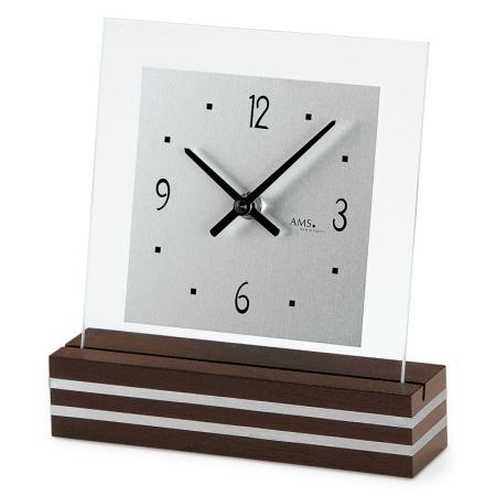 【AMS】【ドイツ製】【アームス】スクエアデザイン クォーツ式置き時計 木製/ガラス・アルミコンビ ams1106[送料無料]【成人式 お祝い】【父の日】【クリスマス】