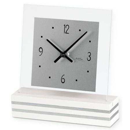 【AMS】【ドイツ製】【アームス】スクエアデザイン クォーツ式置き時計 木製/ガラス・アルミコンビ ams1108[送料無料]【成人式 お祝い】【父の日】【クリスマス】