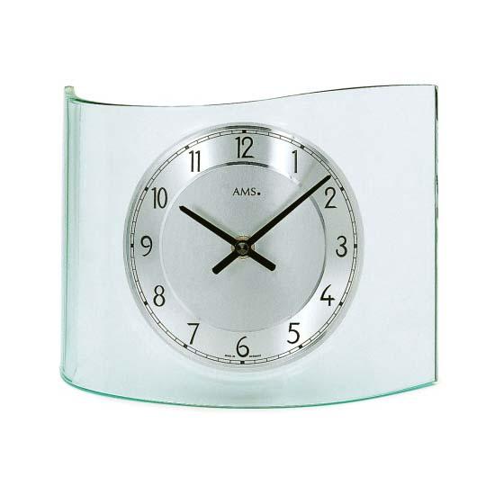 【AMS】【ドイツ製】【アームス】カーブデザイン クォーツ式置き時計 ガラス・アルミコンビ ams131[送料無料]【成人式 お祝い】【父の日】【クリスマス】