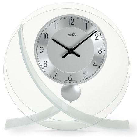【AMS】【ドイツ製】【アームス】サークルデザイン クォーツ式置き時計 ガラス・アルミコンビ ams161[送料無料]【成人式 お祝い】【父の日】【クリスマス】