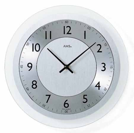 【AMS】【ドイツ製】【アームス】掛け時計(掛け時計)円形 ガラス×アルミコンビ シルバー×ホワイトams9066【成人式 お祝い】【父の日】【クリスマス】