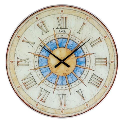 【AMS】【ドイツ製】【アームス】サークルデザイン クォーツ式掛け時計 アンティーク調 ガラス ams9230[送料無料]【成人式 お祝い】【父の日】【クリスマス】