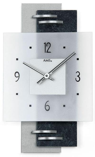 【AMS】【ドイツ製】【アームス】スクエアデザイン クォーツ式掛け時計 ツートンカラー ガラス・アルミコンビ ams9245[送料無料]【成人式 お祝い】【父の日】【クリスマス】