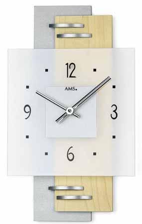 【AMS】【ドイツ製】【アームス】掛け時計(掛け時計)四角形ガラス×アルミコンビ シルバーラッカーams9248【成人式 お祝い】【父の日】【クリスマス】