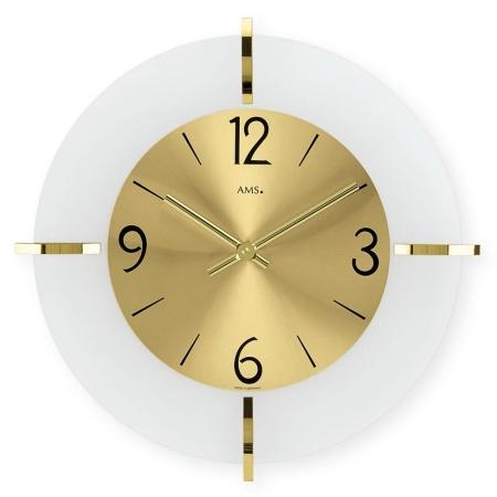 【AMS】【ドイツ製】【アームス】サークルデザイン クォーツ式掛け時計 アンティーク調 ガラス・真鍮コンビ ams9287[送料無料]【成人式 お祝い】【父の日】【クリスマス】