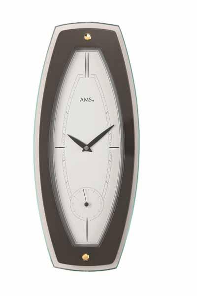 【AMS】【ドイツ製】【アームス】掛け時計(掛け時計)四角形ガラス×クルミ材コンビ ホワイト×ブラウンams9357-1【成人式 お祝い】【父の日】【クリスマス】