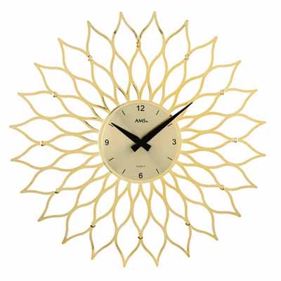 【AMS】【ドイツ製】【アームス】掛け時計(掛け時計)円形 プラスチック×アルミコンビ ゴールドams9359【成人式 お祝い】【父の日】【クリスマス】
