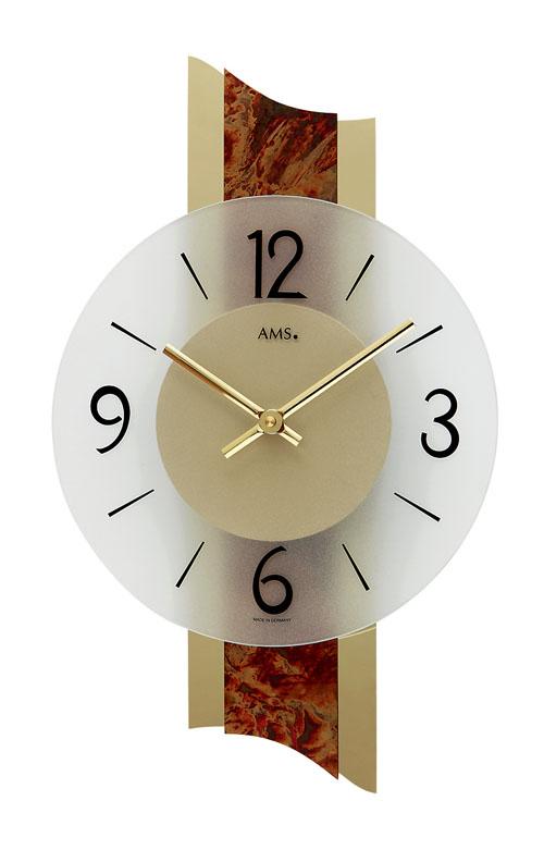 【AMS】【ドイツ製】【アームス】9393 クォーツ式掛け時計 磨き金属/真鍮塗装/ガラス文字盤 アナログ[送料無料]【成人式 お祝い】【父の日】【クリスマス】