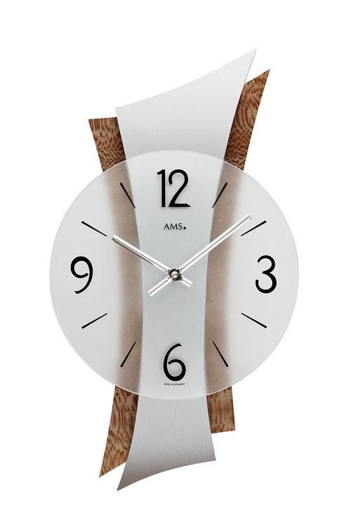 【AMS】【ドイツ製】【アームス】9401 クォーツ式掛け時計 アルミ塗装/木版プレート/ガラス文字盤 アナログ[送料無料]【成人式 お祝い】【父の日】【クリスマス】