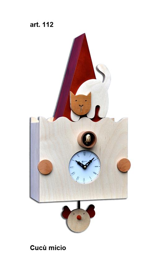 【イタリア製】【外国製 手作り 時計】【鳩 時計】Pirondini(ピロンディーニ)イタリア職人のハンドメイドクロック Micio カッコー時計(振り子付き) art112[送料無料]【楽のし対応】【成人式 お祝い】【父の日】【クリスマス】