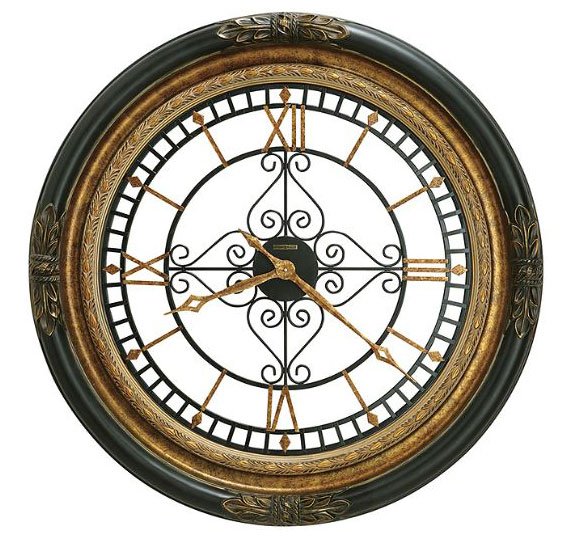 HOWARD MILLER ハワードミラー(アメリカ) Wall Clock 大型壁掛け時計 625-443 Rosario ブラックサテン アンティーク調 輸入時計 アナログ [ 御祝 御祝い お祝い 記念品 新築祝い 熨斗 ]【クリスマス】