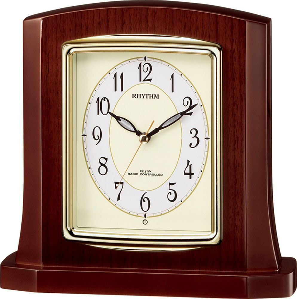 リズム時計工業 RHYTHM 電波置き時計 パルロワイエR406SR 8RY406SR06 連続秒針 高級光沢仕上 アイボリー アナログ [ 御祝 御祝い お祝い 記念品 新築祝い 熨斗 ]