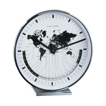 Hermle [ヘルムレ] 高級インテリアクロック Table Clock テーブルクロック 置き時計 金属枠 クォーツ式世界時計 22843-002100[送料無料]【成人式 お祝い】【父の日】【クリスマス】