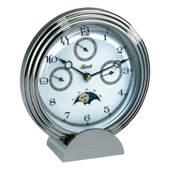 Hermle [ヘルムレ] 高級インテリアクロック Table Clock テーブルクロック 置き時計 真鍮製クォーツ式シルバー銀 22961-002100[送料無料]【成人式 お祝い】【父の日】【クリスマス】