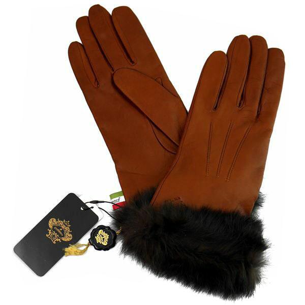 オロビアンコ OROBIANCO レディース手袋 ORL-1584 Leather glove 羊革(ラム)/ウール L.BROWN サイズ:7.5(21cm) ライトブラウン ラビットファー 茶色 [送料無料 ギフト プレゼント ラッピング無料 お祝い クリスマス]