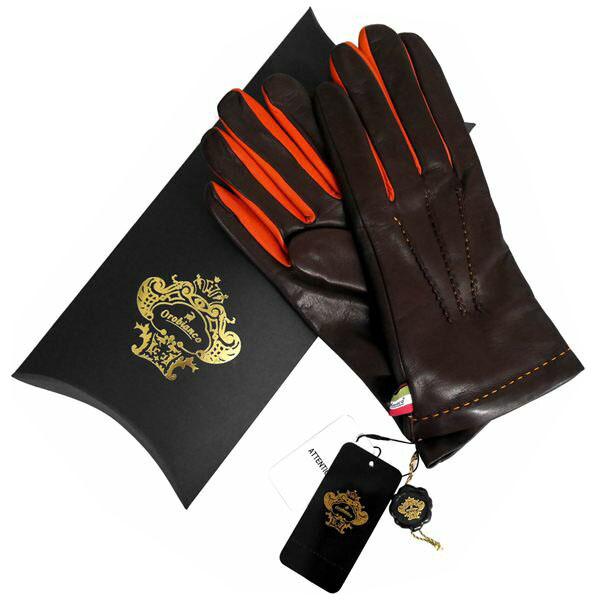 オロビアンコ OROBIANCO メンズ手袋 ORM-1406 Leather glove 羊革/ウール DARKBROWN サイズ:8.5(24cm) ダークブラウン 男性用 レザー