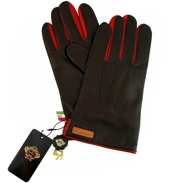 オロビアンコ OROBIANCO メンズ手袋 ORM-1530 Leather glove 羊革(ラム)/ウール D.BROWN/RED サイズ:8(23cm) ダークブラウン レッド 茶色 赤 [ギフト プレゼント ラッピング無料 お祝い クリスマス]