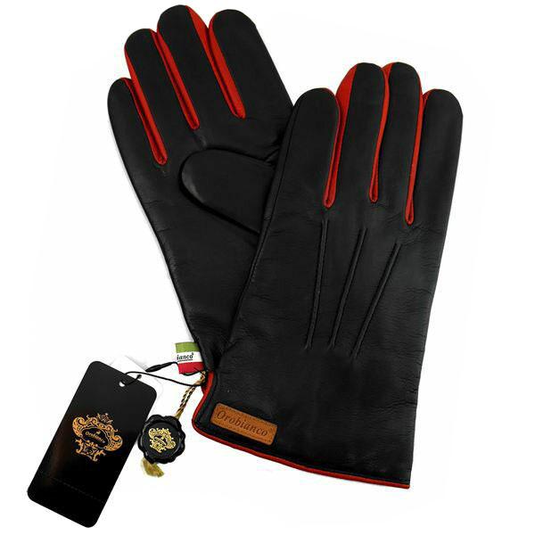 オロビアンコ OROBIANCO メンズ手袋 ORM-1530 Leather glove 羊革(ラム)/ウール NAVY/RED サイズ:8(23cm) ネイビーブルー レッド 紺色 赤 [ギフト プレゼント ラッピング無料 お祝い クリスマス]