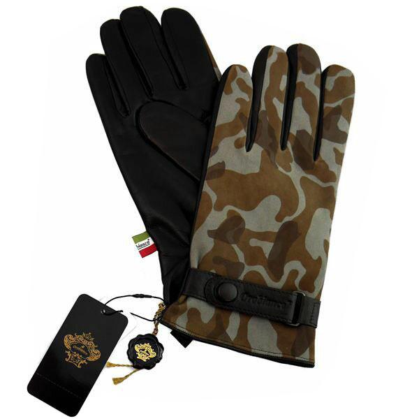 オロビアンコ OROBIANCO メンズ手袋 ORM-1534 Leather glove 羊革(ラム)/ウール KHAKI/D.BROWN サイズ:8.5(24cm) カーキ 迷彩柄 [ギフト プレゼント ラッピング無料 お祝い クリスマス]