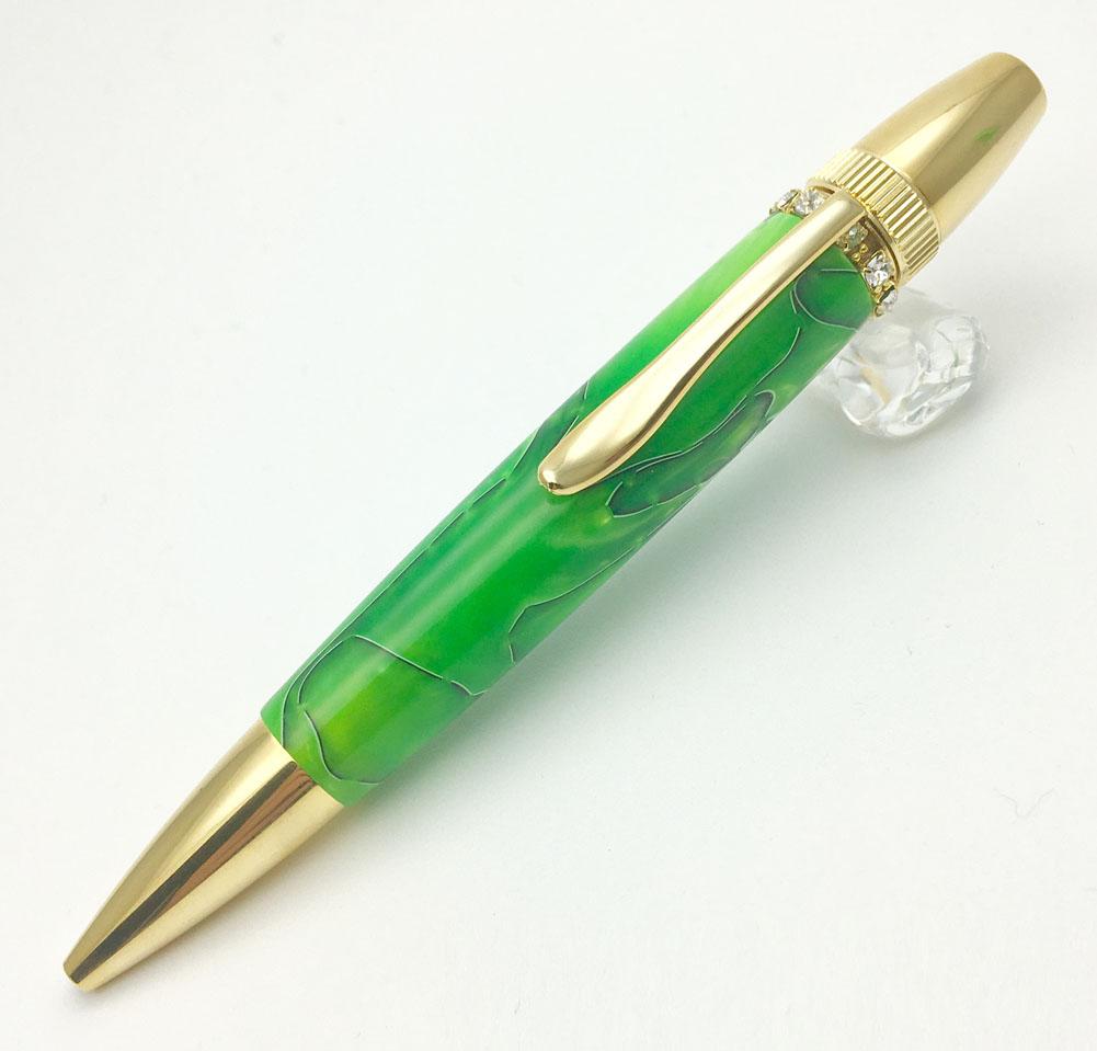 F-STYLE Acrylic & Ring Green スワロフスキー Top TAS1700 グリーン 日本製 油性ボールペン MADE IN JAPAN おしゃれ (コ)