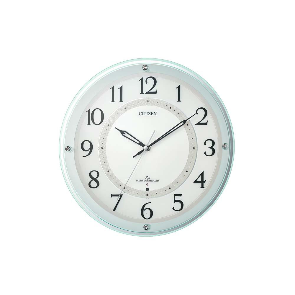 リズム時計工業 CITIZEN シチズン 電波 壁掛け時計 4MY859-005 スリーウェイブ 緑透明色 白 丸形 アナログ