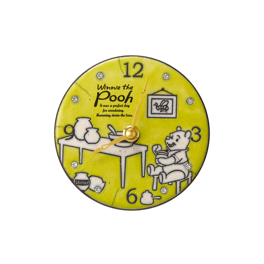 Disney ディズニー クォーツ壁掛け時計 くまのプーさん ZC942MC33 イタリア製陶器枠 掛置兼用 イエロー 黄色 アナログ Disney キャラクター 子供 キッズ リズム時計工業 [贈り物 入学 入園 卒業 卒園 祝い記念 結婚祝い 引き出物 新築祝い 引越し祝い 母の日 クリスマス]