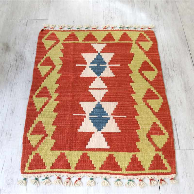 カイセリ産トルコ手織りキリム・ヤストゥク90×57cmレッド