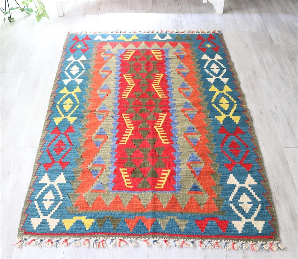 トルコキリムカイセリ産手織り・セッジャーデ171×123cmレッド/ブルー