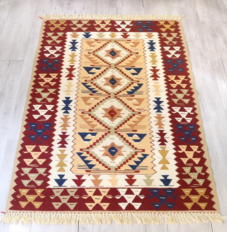 トルコ手織りキリム・ウシャク セッジャーデ164×114cmベージュ・ワイン