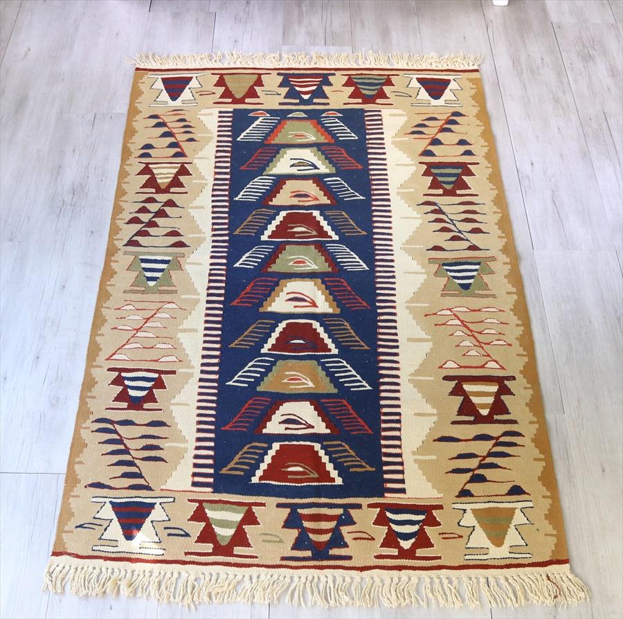 トルコ手織りキリム・ウシャク セッジャーデ167×110cmブルー・ベージュ
