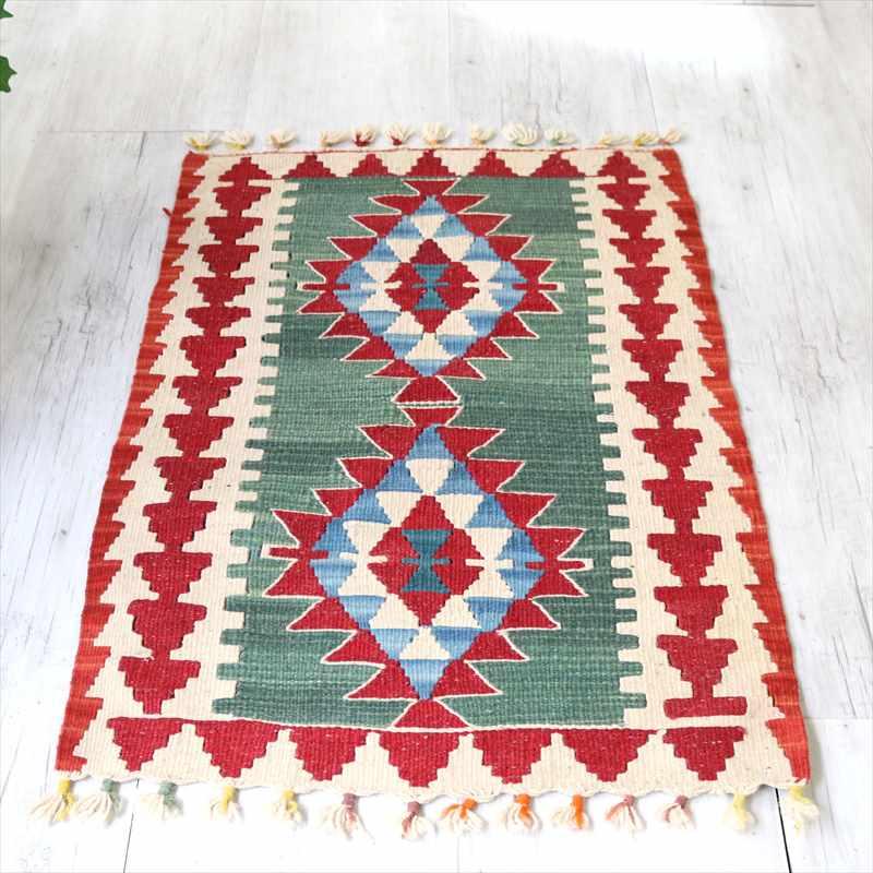 カイセリ産トルコ手織りキリム・ヤストゥク90×54cmグリーン/ベージュ