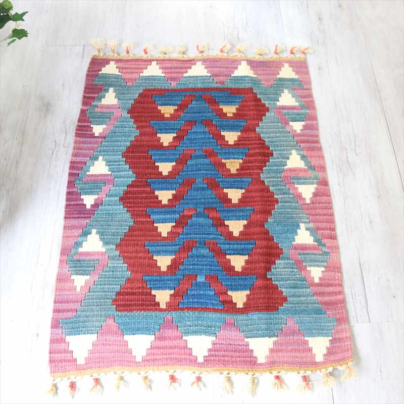 カイセリ産トルコ手織りキリム・ヤストゥク92×60cmレッド/パープル