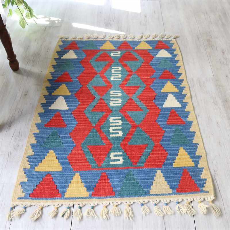 カイセリ産トルコ手織りキリム・チェイレキ112×78cmレッド/ブルー