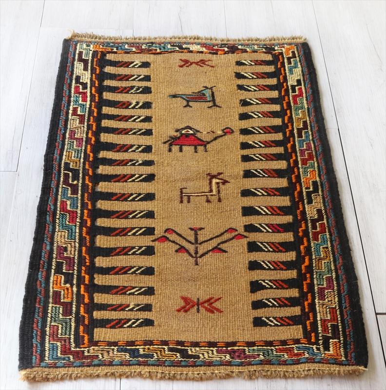 素朴なグチャン族のキリム95×60cm動物のモチーフ