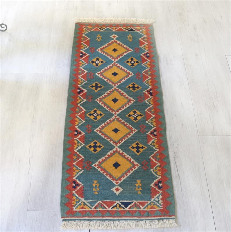 シラーズ・カシュカイ族の手織りキリム ランナー115×43cm5つのひし形のモチーフ