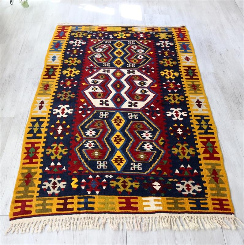 ヤヒヤル村の伝統柄キリム/トルコキリム・セッヂャーデ183×115cm雄羊の角・コチボユヌズ