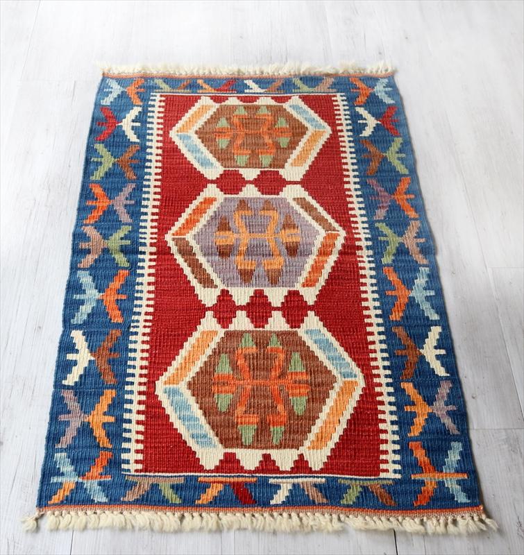 色にこだわるワンランク上のカイセリキリム・ヤストゥク103×65cmオオカミの足跡 レッド ブルー