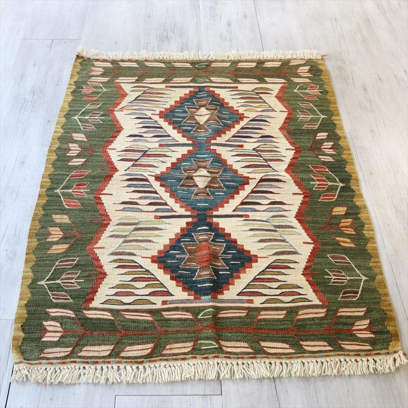 トルコ手織りキリム・ウシャク チェイレキ119×92cm3つのイーブルアイ