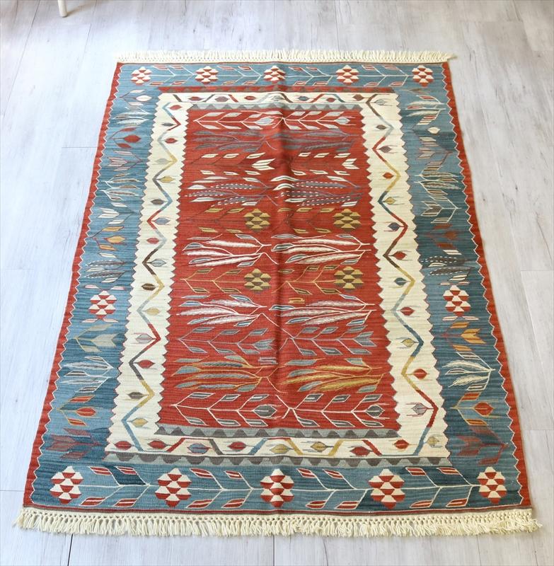 トルコ手織りキリム・ウシャク セッジャーデ172×116cm麦の穂とチューリップのモチーフ