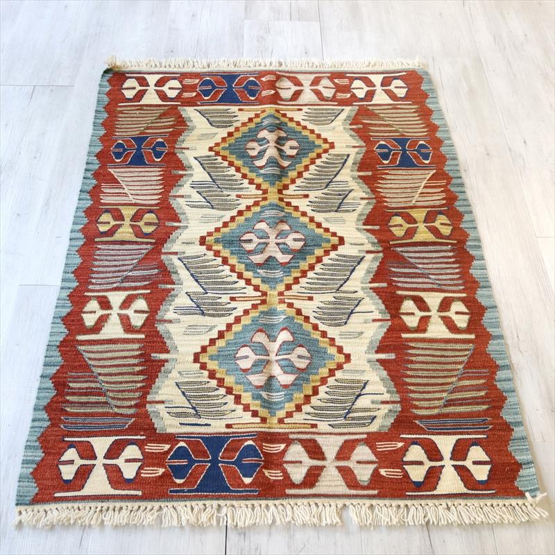 トルコ手織りキリム・ウシャク チェイレキ126×92cm狼の足跡 ベージュ・レッド